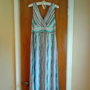 White with teal and black stripped maxi dress
